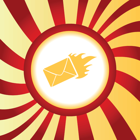burning: Burning envelope abstract icon
