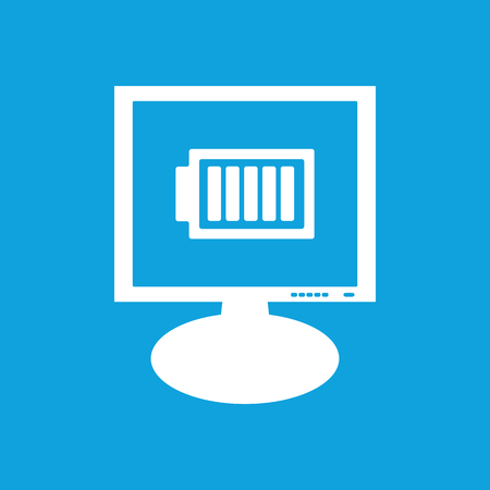 charged: Charged battery monitor icon Illustration