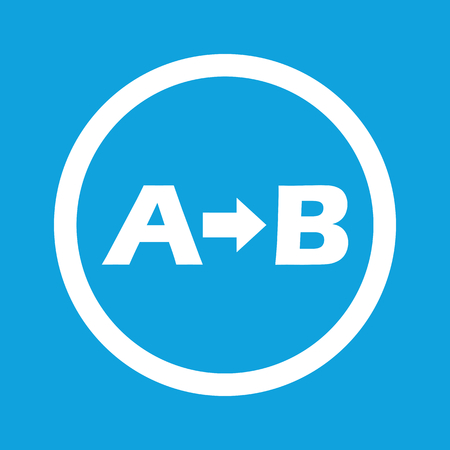 derivation: A to B sign icon Illustration