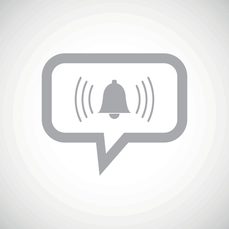 remind: Grey image of ringing bell in chat bubble, on white gradient background