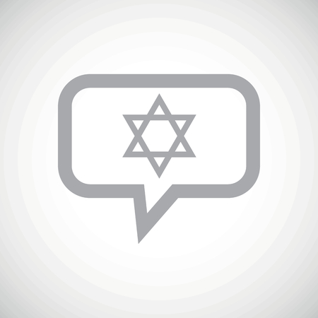 an amulet: Grey Star of David symbol in chat bubble, on white gradient background Illustration
