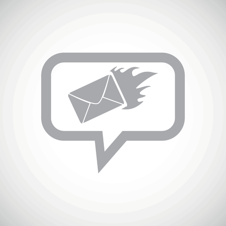 meaningful: Grey image of burning envelope in chat bubble, on white gradient background