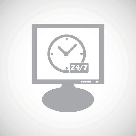 overnight: Orologio grigio con il testo 24 per 7 su schermo, su sfondo sfumato bianco