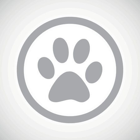 track pad: Grey image of paw print in circle, on white gradient background