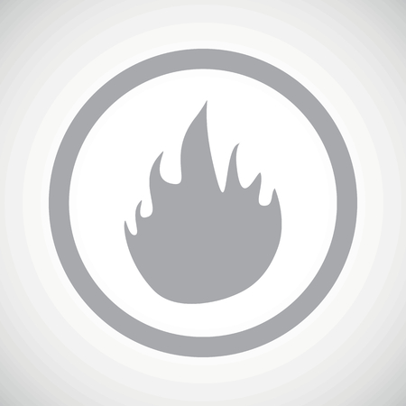 conflagration: Grey image of flame in circle, on white gradient background