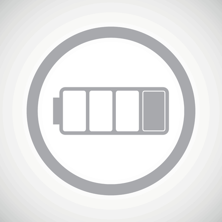low battery: Grey image of low battery in circle, on white gradient background Illustration