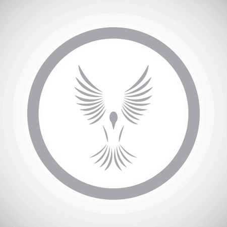 span: Grey image of flying bird in circle, on white gradient background Illustration