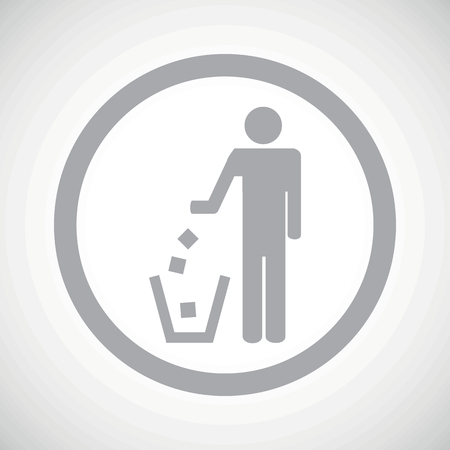 litter bin: Grey person throwing garbage into litter bin in circle, on white gradient background