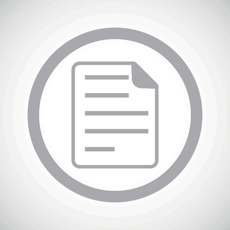 article writing: Grey image of document page in circle, on white gradient background Illustration