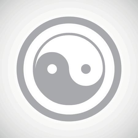 yinyang: Grey ying yang symbol in circle, on white gradient background Illustration