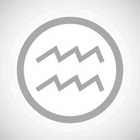 Grey aquarius zodiac symbol in circle, on white gradient background