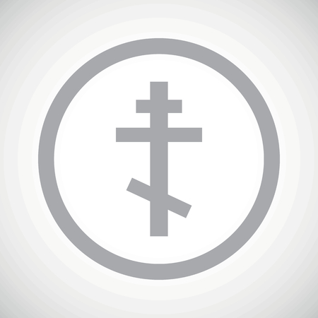 orthodox: Grey image of orthodox cross in circle, on white gradient background Illustration