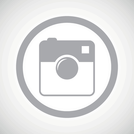 microblog: Grey image of square camera in circle, on white gradient background Illustration