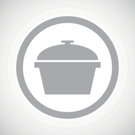 Grey image of pot with lid in circle, on white gradient background