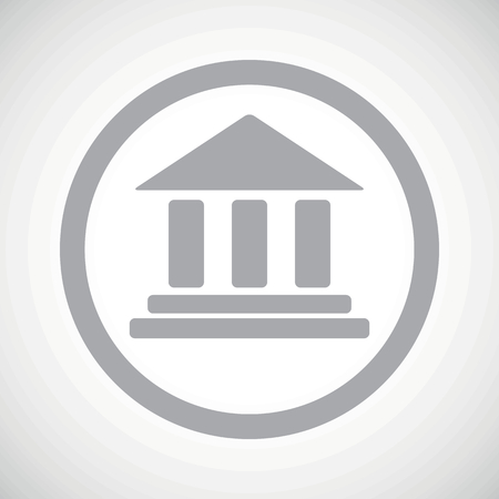 pillars: Grey image of classical building with pillars in circle, on white gradient background Illustration
