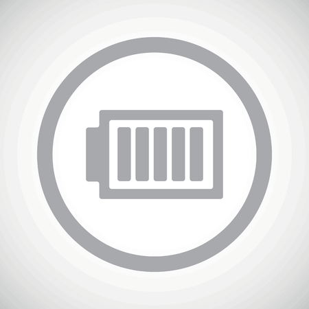 charged: Grey image of fully charged battery in circle, on white gradient background Illustration