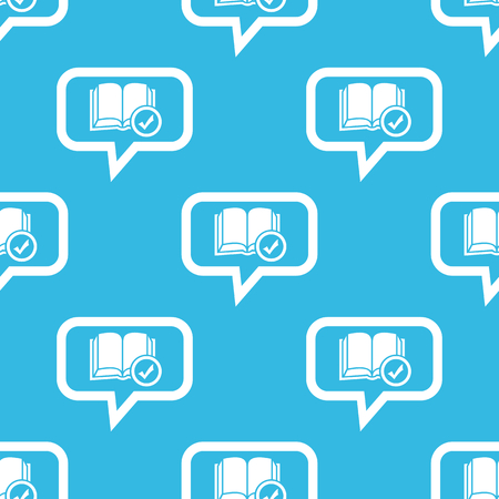 book mark: Image of book with tick mark in chat bubble, repeated on blue background Illustration