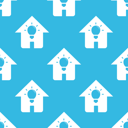 repeated: Image of light bulb in house, repeated on blue background Illustration