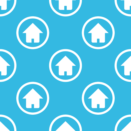 repeated: Image of house in circle, repeated on blue background Illustration