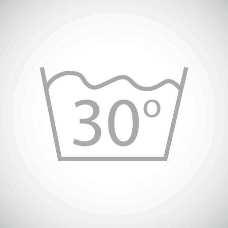 washbowl: Grey image of 30 degrees wash sign, on white gradient background
