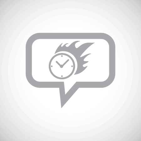 bounds: Grey image of burning clock in chat bubble, on white gradient background