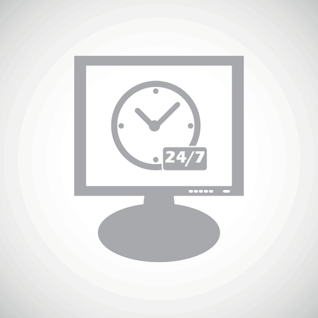 overnight: Grey clock with text 24 per 7 on screen, on white gradient background Vettoriali