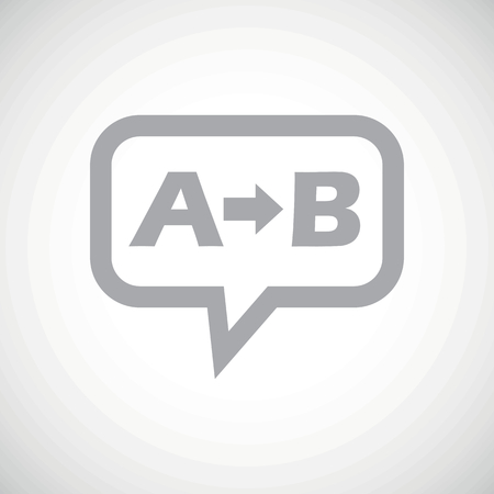 derivation: Grey letters A, B and arrow in chat bubble, on white gradient background