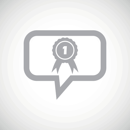 corroboration: Grey image of first place award in chat bubble, on white gradient background Illustration