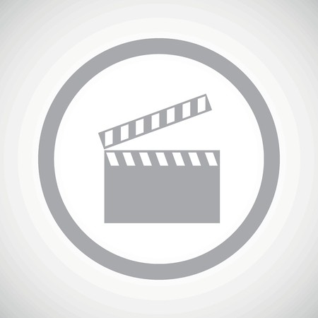 cinematograph: Grey image of clapperboard in circle, on white gradient background Illustration