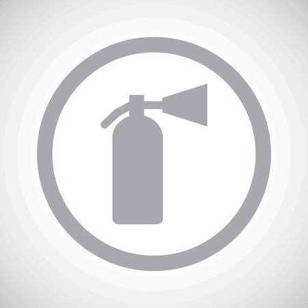 conflagration: Grey image of fire extinguisher in circle, on white gradient background Illustration
