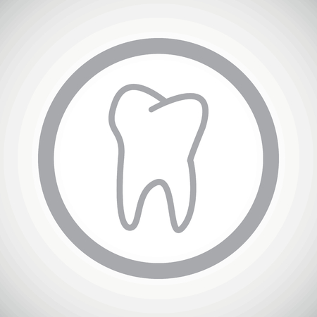 dens: Grey image of tooth in circle, on white gradient background Illustration
