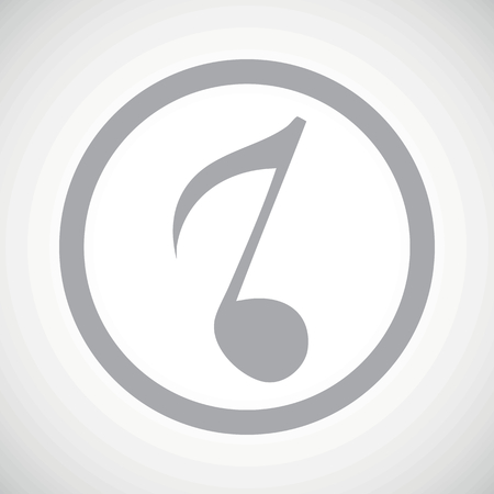 gamut: Grey image of eighth note in circle, on white gradient background