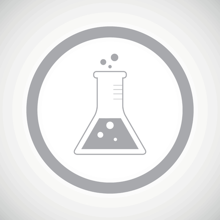 conical: Grey image of conical flask in circle, on white gradient background Illustration