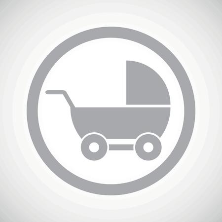 perambulator: Grey image of perambulator in circle, on white gradient background Illustration