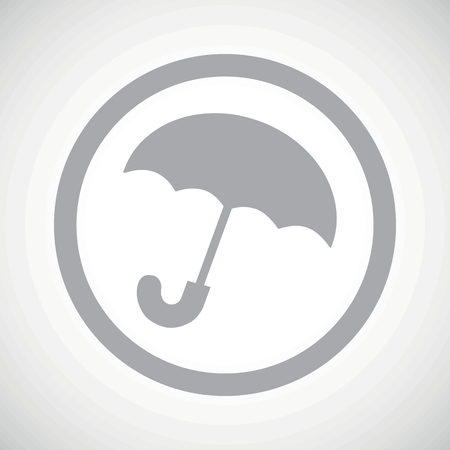 cloudburst: Grey image of open umbrella in circle, on white gradient background Illustration