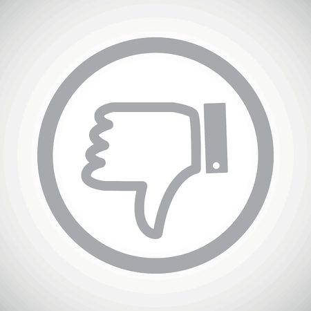 disapproval: Grey dislike symbol in circle, on white gradient background