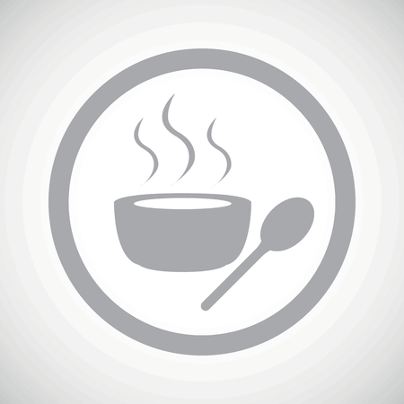 dinner plate: Grey image of bowl with hot soup in circle, on white gradient background