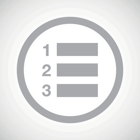 listing: Grey image of numbered list in circle, on white gradient background