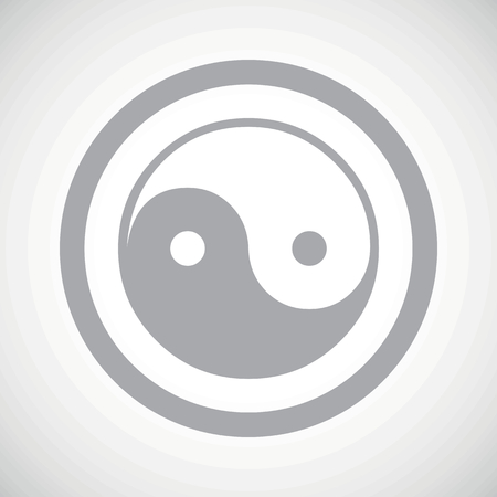 dao: Grey ying yang symbol in circle, on white gradient background Illustration
