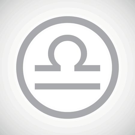 libra zodiac: Grey libra zodiac symbol in circle, on white gradient background