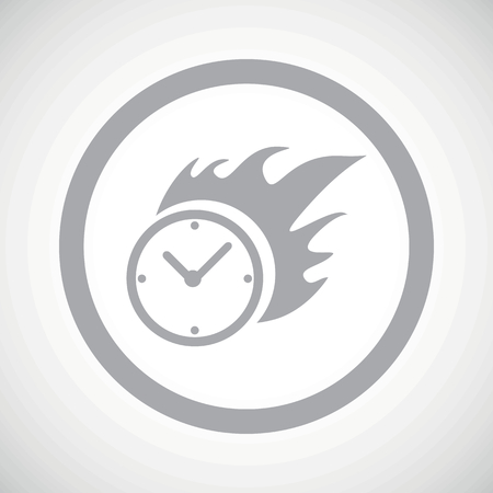 bounds: Grey image of burning clock in circle, on white gradient background Illustration