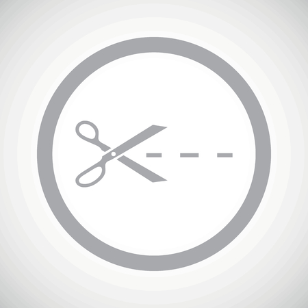slit: Grey image of scissors cutting along the line in circle, on white gradient background Illustration
