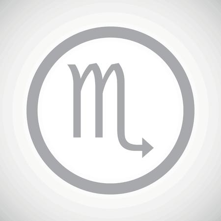 ecliptic: Grey scorpio zodiac symbol in circle, on white gradient background Illustration