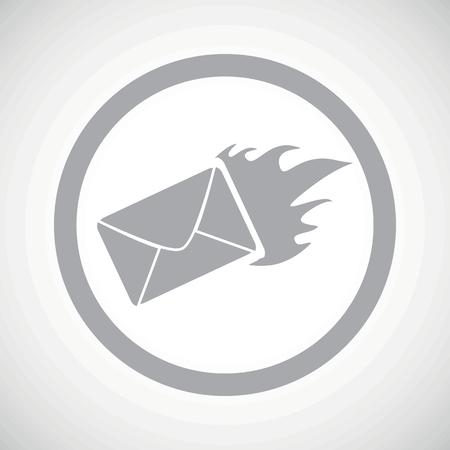 meaningful: Grey image of burning envelope in circle, on white gradient background Illustration