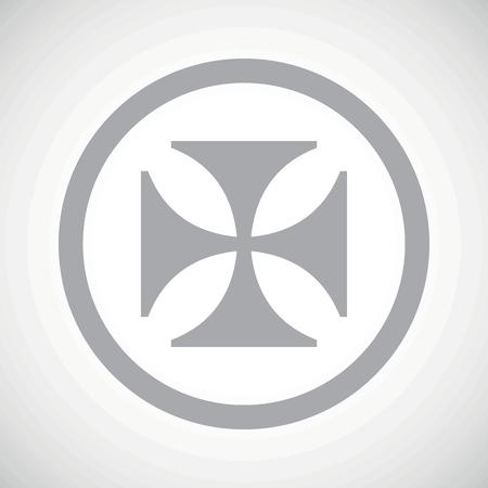 maltese: Grey image of maltese cross in circle, on white gradient background Illustration