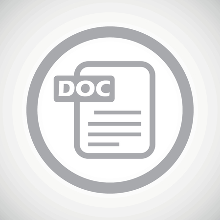 ms: Grey image of document page and text DOC in circle, on white gradient background