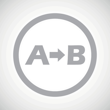 derivation: Grey letters A, B and arrow in circle, on white gradient background