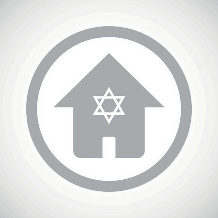 jewish home: Grey image of house with Star of David in circle, on white gradient background Illustration