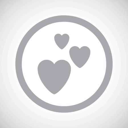 tender tenderness: Grey image of three hearts in circle, on white gradient background