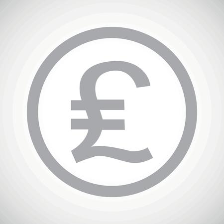 sterling: Grigio sterlina simbolo in cerchio, su sfondo sfumato bianco Vettoriali